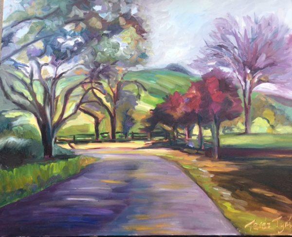 backlit road